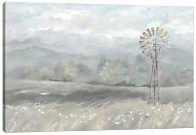 Country Meadow Windmill Landscape Neutral Canvas Art Print
