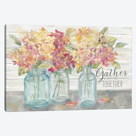 Farmhouse Hydrandeas in Mason Jars Spice -Gather 3-Piece Canvas #CYN177} by Cynthia Coulter Canvas Wall Art