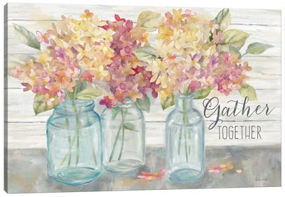 Farmhouse Hydrandeas in Mason Jars Spice -Gather Canvas Art Print