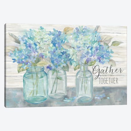 Farmhouse Hydrangeas in Mason Jars -Gather 3-Piece Canvas #CYN180} by Cynthia Coulter Canvas Wall Art