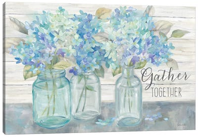 Farmhouse Hydrangeas in Mason Jars -Gather Canvas Art Print