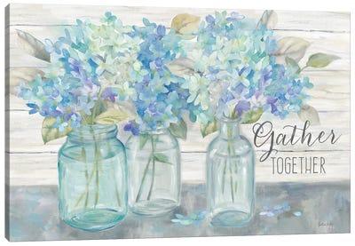 Farmhouse Hydrangeas in Mason Jars -Gather Canvas Art Print