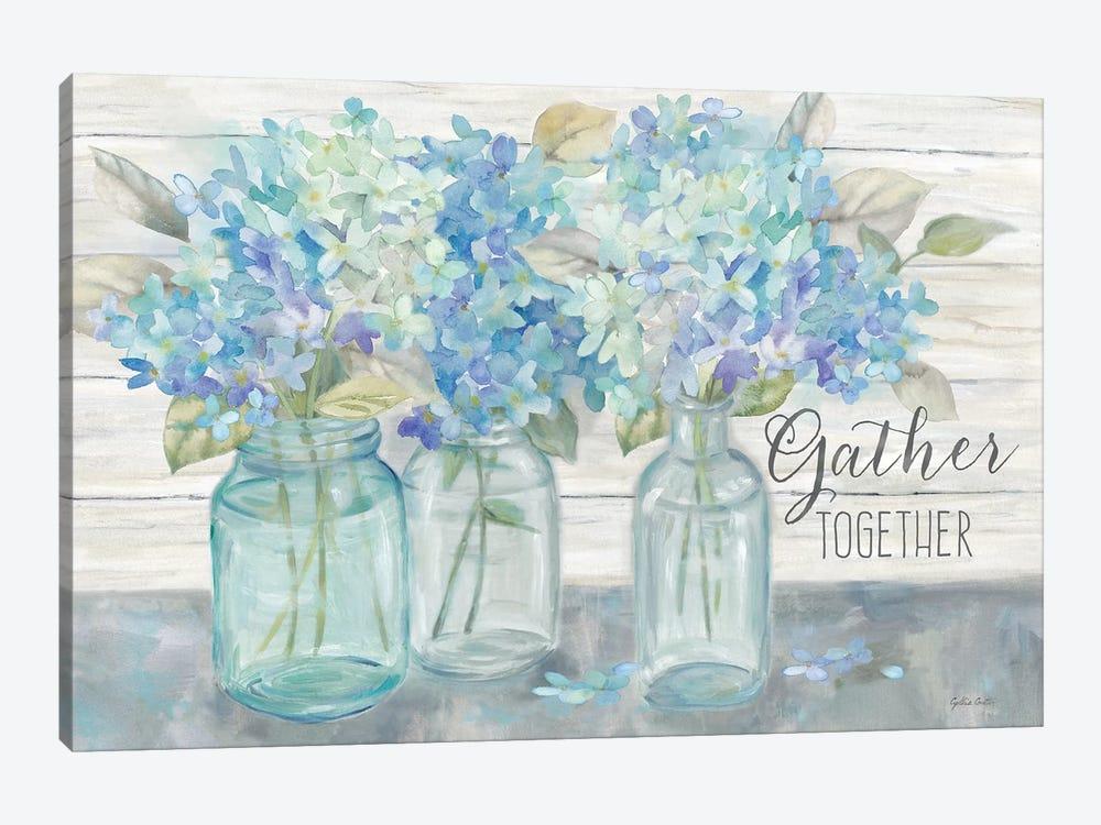 Farmhouse Hydrangeas in Mason Jars -Gather by Cynthia Coulter 1-piece Canvas Art Print