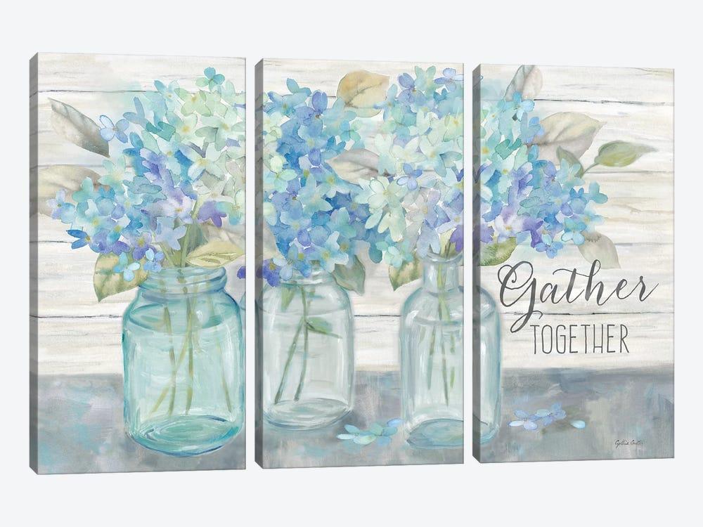 Farmhouse Hydrangeas in Mason Jars -Gather by Cynthia Coulter 3-piece Canvas Print