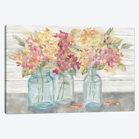 Farmhouse Hydrangeas in Mason Jars Spice Canvas Print #CYN181} by Cynthia Coulter Canvas Art