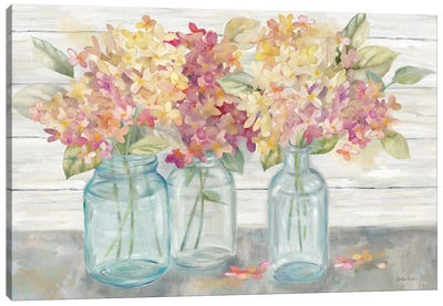 Farmhouse Hydrangeas in Mason Jars Spice Canvas Art Print