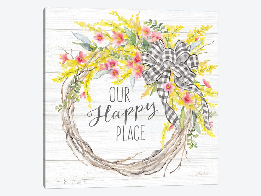 Spring Gingham Wreath Happy Place by Cynthia Coulter 1-piece Canvas Artwork