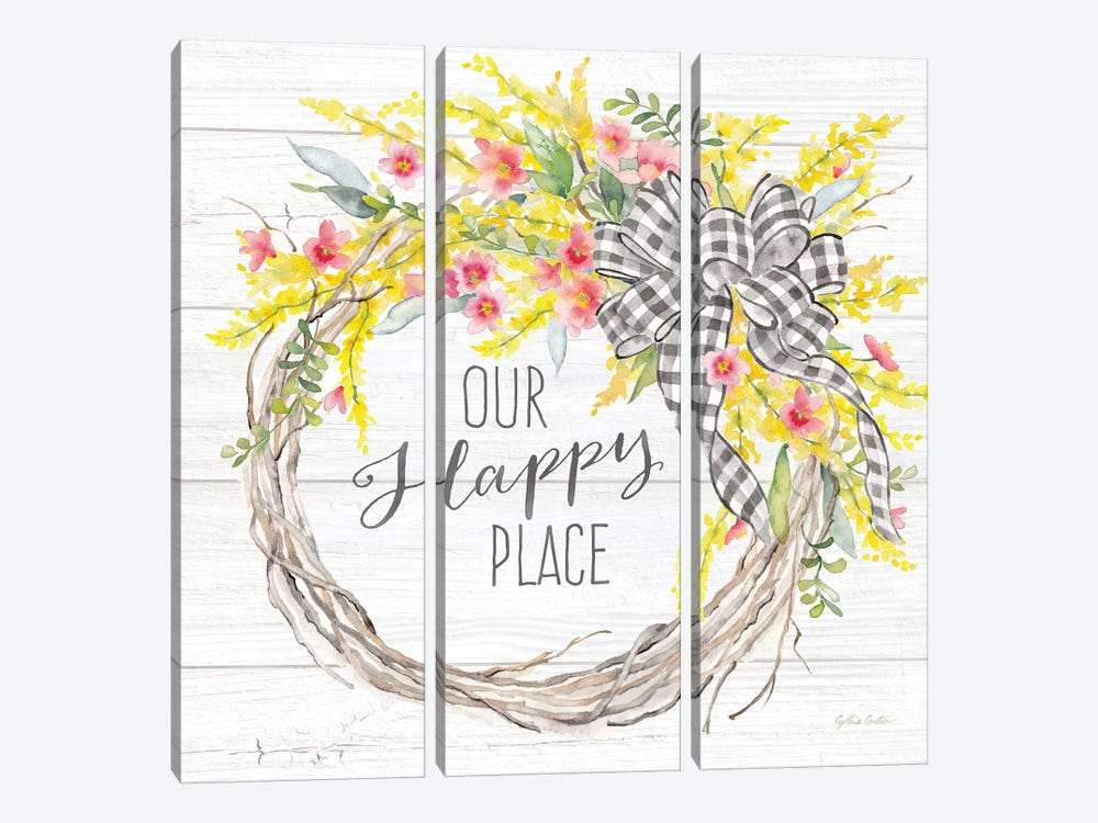 Spring Gingham Wreath Happy Place by Cynthia Coulter 3-piece Canvas Art