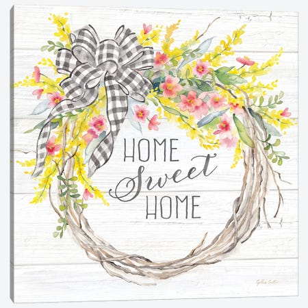 Spring Gingham Wreath Home Canvas Print #CYN184} by Cynthia Coulter Art Print