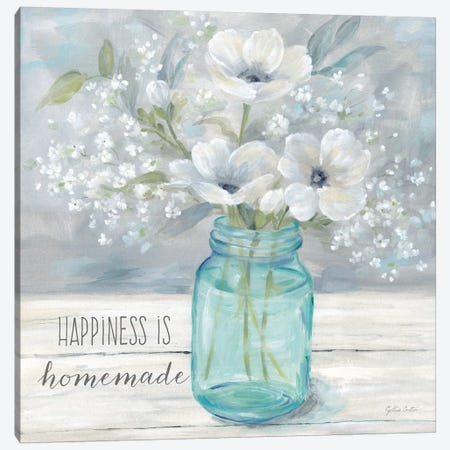 Vintage Jar Bouquet Sentiment I Canvas Print #CYN185} by Cynthia Coulter Art Print