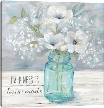 Vintage Jar Bouquet Sentiment I Canvas Art Print