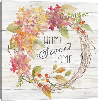 Farmhouse Hydrangea Wreath Spice I Home Canvas Art Print