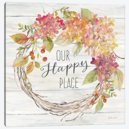 Farmhouse Hydrangea Wreath Spice II Happy Place Canvas Print #CYN190} by Cynthia Coulter Canvas Print