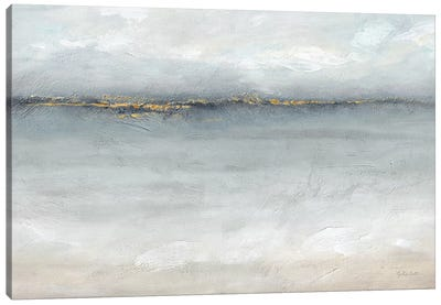 Serene Sea Grey Gold Landscape Canvas Art Print