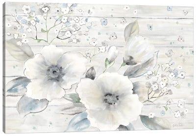 Vintage Bouquet on Wood landscape Canvas Art Print