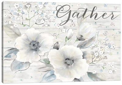 Vintage Bouquet on Wood Sentiment Canvas Art Print