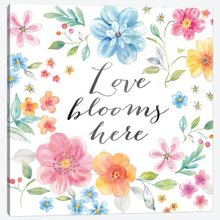 Whimsical Blooms Sentiment I Canvas Print #CYN199} by Cynthia Coulter Canvas Art Print