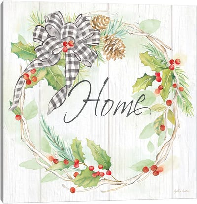 Holiday Gingham Wreath I Canvas Art Print