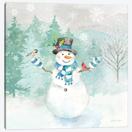 Let it Snow Blue Snowman I Canvas Print #CYN208} by Cynthia Coulter Canvas Print