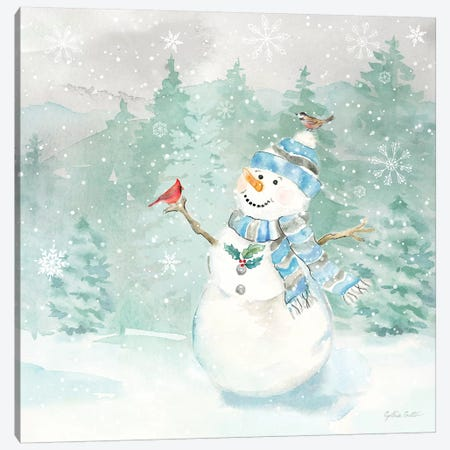 Let it Snow Blue Snowman II Canvas Print #CYN209} by Cynthia Coulter Canvas Print