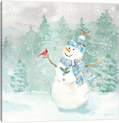 Let it Snow Blue Snowman II Canvas Art Print