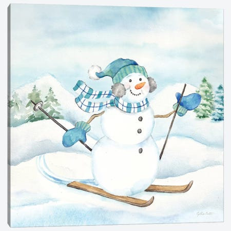 Let it Snow Blue Snowman III Canvas Print #CYN210} by Cynthia Coulter Canvas Artwork