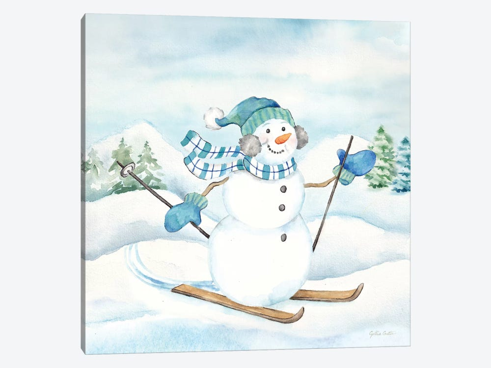 Let it Snow Blue Snowman III by Cynthia Coulter 1-piece Canvas Art