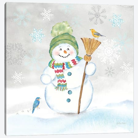 Let it Snow Blue Snowman IV Canvas Print #CYN211} by Cynthia Coulter Canvas Artwork