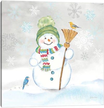 Let it Snow Blue Snowman IV Canvas Art Print