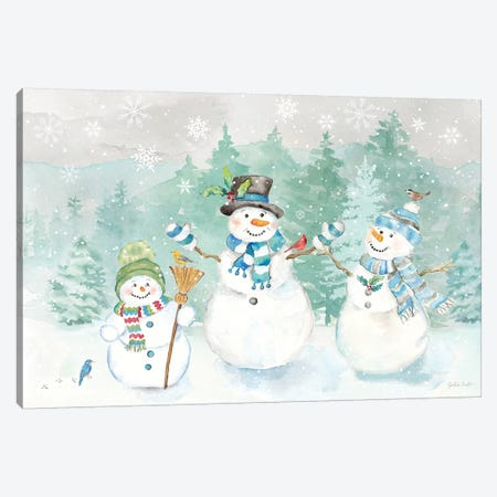 Let it Snow Blue Snowman landscape Canvas Print #CYN212} by Cynthia Coulter Canvas Artwork