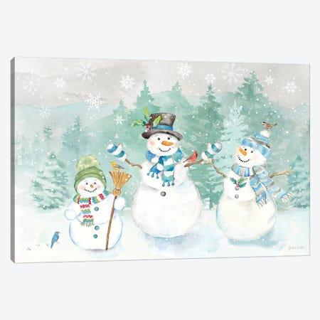 Let it Snow Blue Snowman landscape Canvas Print #CYN212} by Cynthia Coulter Canvas Artwork