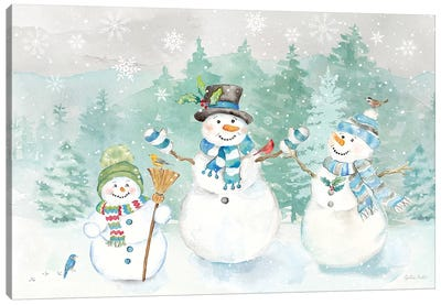 Let it Snow Blue Snowman landscape Canvas Art Print