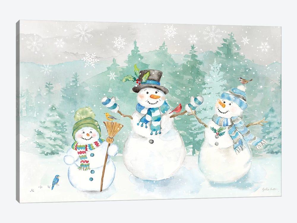 Let it Snow Blue Snowman landscape by Cynthia Coulter 1-piece Canvas Artwork