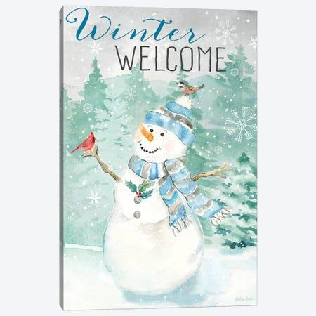 Let it Snow Blue Snowman portrait Canvas Print #CYN213} by Cynthia Coulter Canvas Art