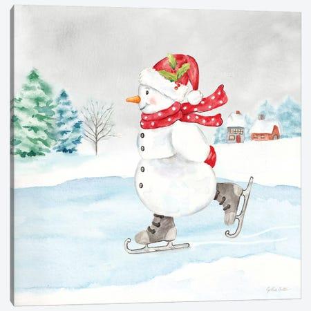 Let it Snow Blue Snowman V Canvas Print #CYN214} by Cynthia Coulter Art Print