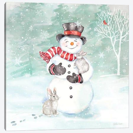 Let it Snow Blue Snowman VI Canvas Print #CYN215} by Cynthia Coulter Canvas Print