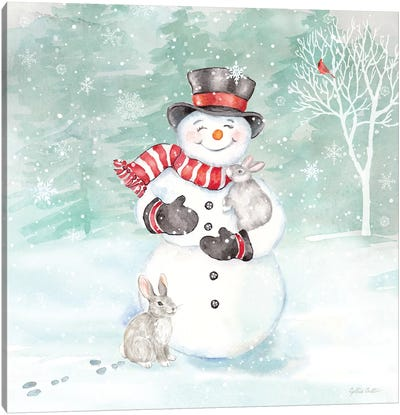 Let it Snow Blue Snowman VI Canvas Art Print