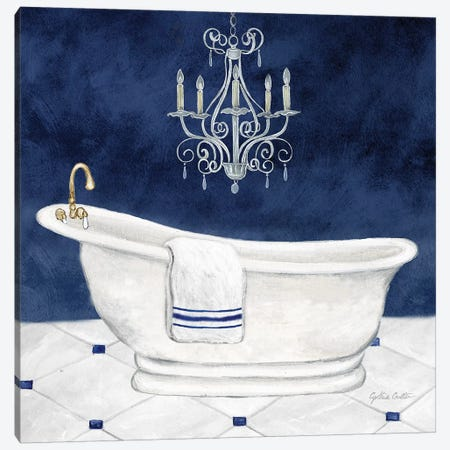 Navy Blue Bath I Canvas Print #CYN250} by Cynthia Coulter Canvas Artwork
