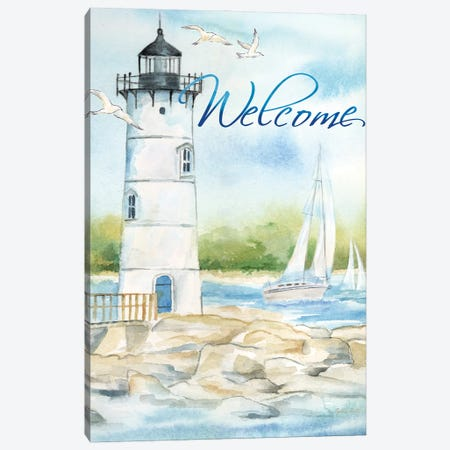 East Coast Lighthouse portrait I-Welcome Canvas Print #CYN260} by Cynthia Coulter Canvas Art Print