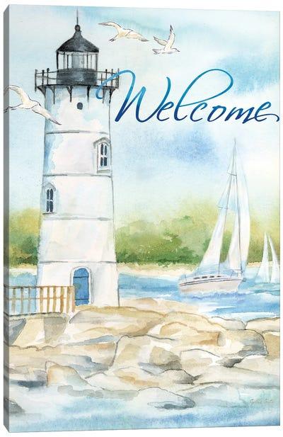 East Coast Lighthouse portrait I-Welcome Canvas Art Print