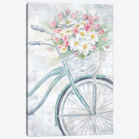 Bike With Flower Basket Canvas Print #CYN2} by Cynthia Coulter Canvas Art