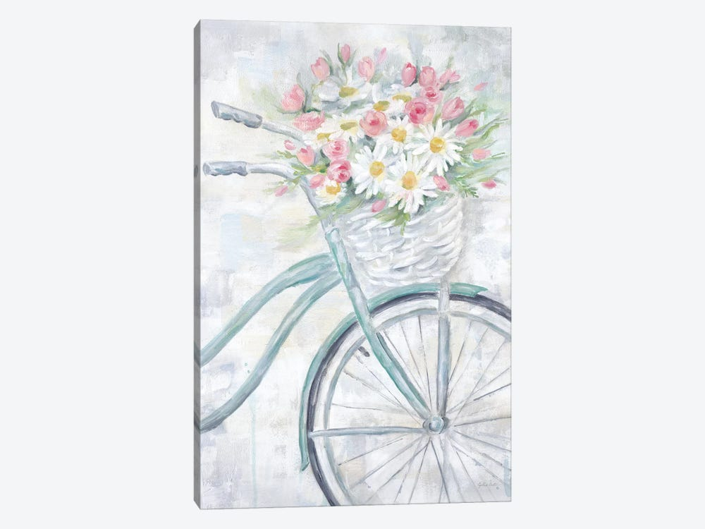 Bike With Flower Basket by Cynthia Coulter 1-piece Canvas Art