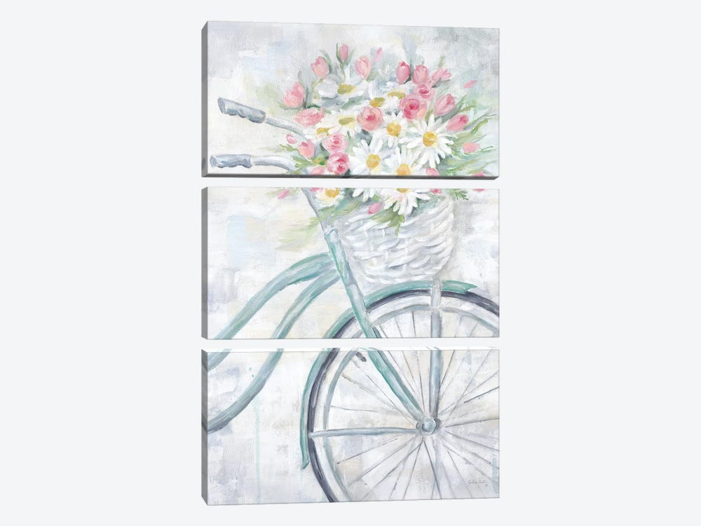 Bike With Flower Basket by Cynthia Coulter 3-piece Canvas Artwork