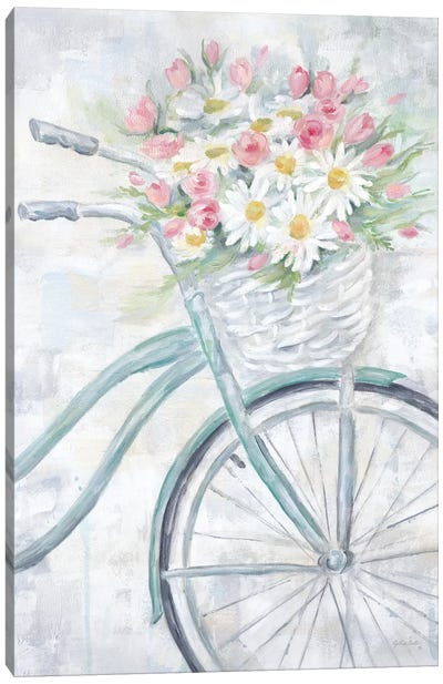 Bike With Flower Basket Canvas Art Print
