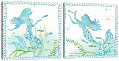 Mermaid Dreams Diptych Canvas Art Print
