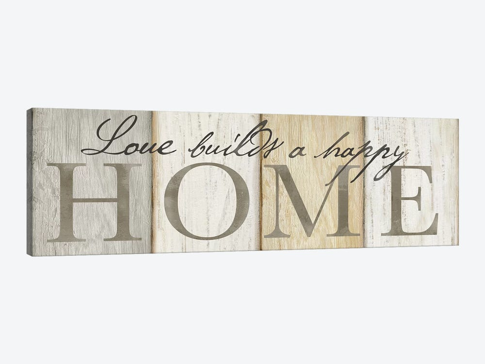 Love Builds Home Neutral Sign by Cynthia Coulter 1-piece Canvas Artwork
