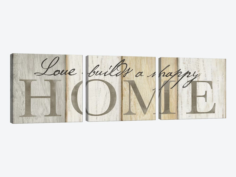 Love Builds Home Neutral Sign by Cynthia Coulter 3-piece Canvas Artwork