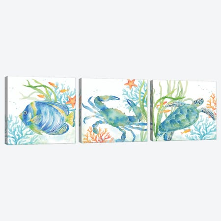 Sea Life Serenade Triptych Canvas Print Set #CYN3HSET003} by Cynthia Coulter Canvas Wall Art