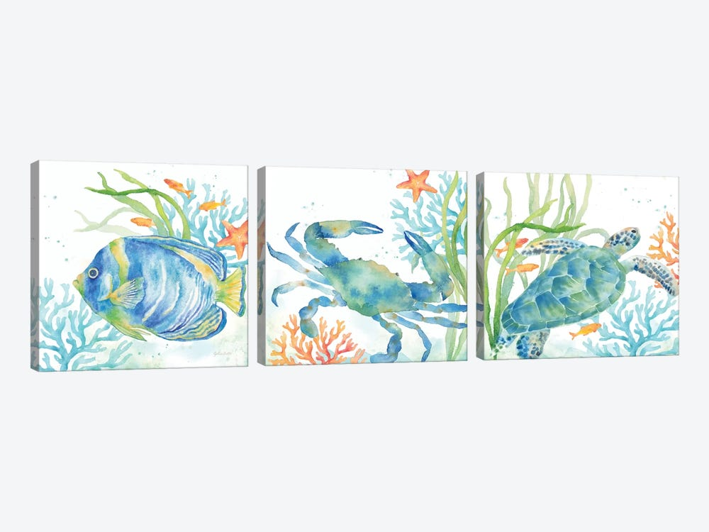 Sea Life Serenade Triptych by Cynthia Coulter 3-piece Canvas Art