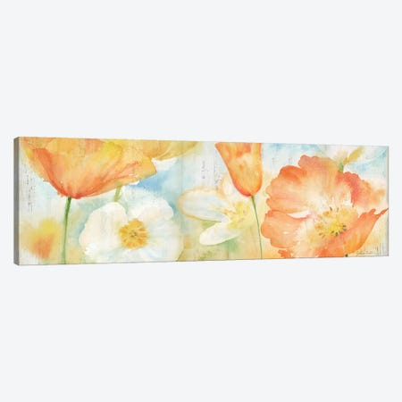 Poppy Meadow Pastel Woodgrain Panel Canvas Print #CYN52} by Cynthia Coulter Art Print